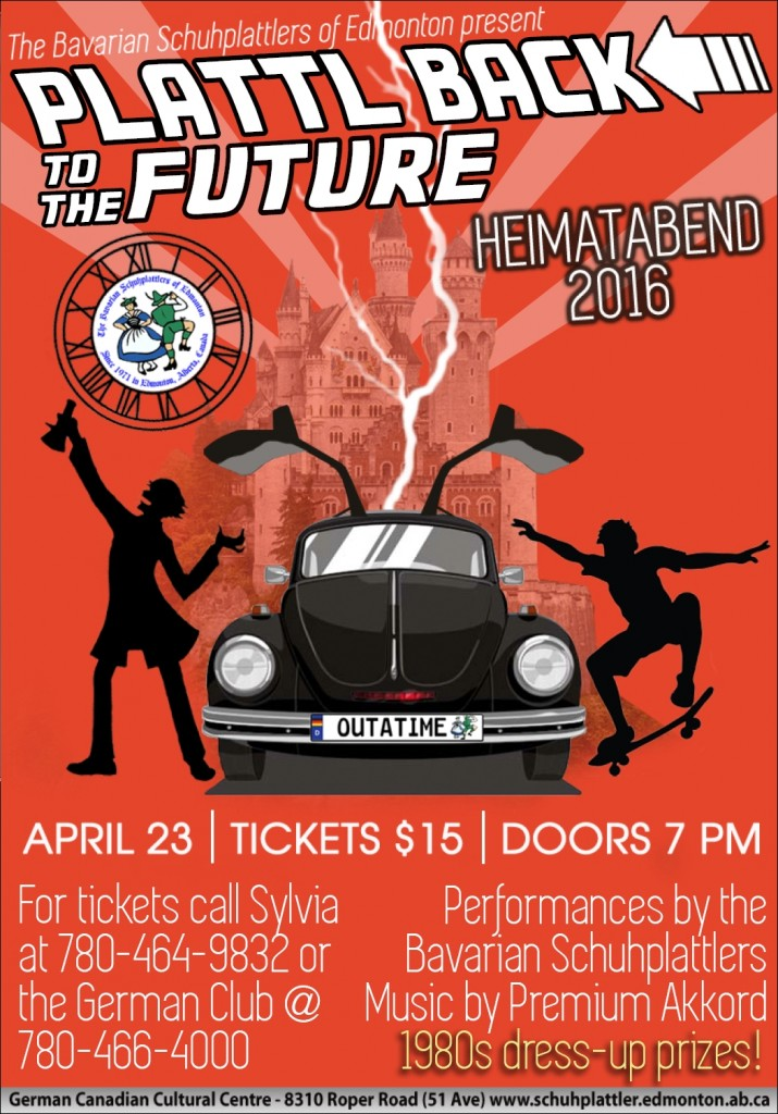 2016 BSE Heimatabend poster - Plattl Back to the Future - 23 April 2016